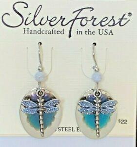 SILVER FOREST BLUE DRAGONFLY DROP DANGLE SURGICAL STEEL EAR WIRE EARRINGS