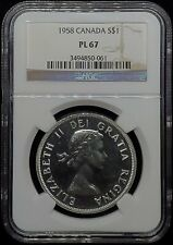 🇨🇦 1958 CANADA SILVER PROOFLIKE $1 DOLLAR NGC PL67 🇨🇦