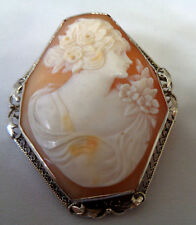 VICTORIAN 14KT WHITE GOLD FILIGREE INTRICATE CARVED CAMEO PENDANT OR BROOCH