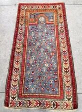 "ANTIQUE CAUCASIAN PRAYER RUG - [68"" X 37""] Hand-knotted Wool Rare w/Human Figure"