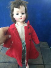 """Vintage 17"""" American Character Sweet Sue wears Red Trench Coat Peasant Dress ��"""