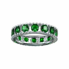 ETERNITY WEDDING BAND W/ LAB CREATED EMERALDS / 925 STERLING SILVER / SZ 5-9
