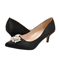 44db0985d3 Women's Shoes Blossom Hurley 8 Embellished Pointed Toe Heels Black Satin ...