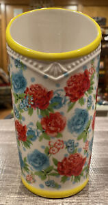 "Pioneer Woman Replacement Utensil Holder Ceramic ""Floral Medley' YELLOW Rim"
