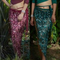 Sequin Tassel Hip Scarf Skirt Belly Dance Costumes Triangle Fringe Shawl Skirts