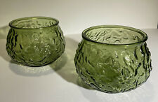 2 E.O Brody Green Crinkle Glass Bowls - Vintage Mid-Century Modern Bowls