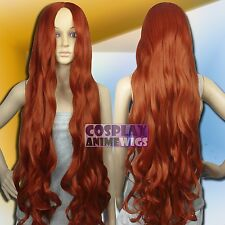 100 cm Copper Red Heat Styleable No Bang Long Wavy Cosplay Wigs G_350