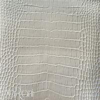 Tessuto Finta Pelle Ecopelle 1/2 Metro Pitone Tappezzeria Rivestimento Bianco