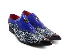 Rossellini Livio Mens Navy Blue Leopard Steel Toe Formal Slip On Loafer Shoes