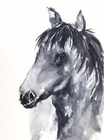 BLACK HORSE WATERCOLOUR PAINTING BY DIANE ANTONE UNIQUE ART IDEAL XMAS GIFT
