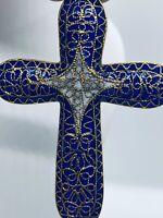 Vintage French Enamel Plique-a-Jour Blue Cross Pendant Necklace