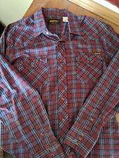 vtg 70s Roebucks Snap Plaid Check Shirt Men's Large L 16-16.5