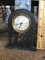 German Mantle Clock Small Metal Case Gothic / Steampunk Decor