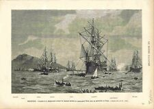 Port Marseille Escadre Méditerranée Funérailles Amiral Pierre GRAVURE PRINT 1883