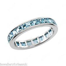 Platinum Princess Cut Aquamarine Full Eternity Wedding Band 5.00cts 5.5mm Wide