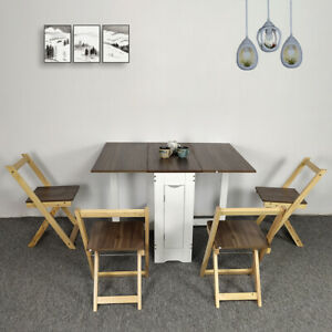 Table and 4 Chairs Wooden Folding Dining Set Extending Space Saving Small