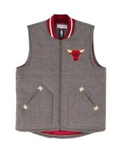 Mitchell & Ness Chicago Bulls Margin of Victory Vest Jacket Men's Gray NWT Large