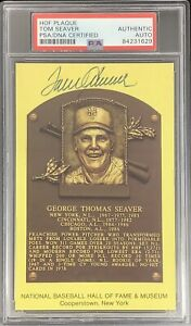 Tom Seaver Signed Gold HOF Plaque Postcard Yellow New York Mets Auto PSA/DNA