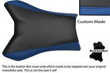 BLACK & BLUE CUSTOM FITS YAMAHA FAZER FZ1 06-12 100% LEATHER SEAT COVER