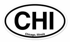 "CHI Chicago Illinois Oval car window bumper sticker decal 5"" x 3"""