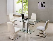 SAVIO SMALL RECTANGULAR GLASS CHROME DINING TABLE ONLY-4 COLOURS- 120 cm - IJ895