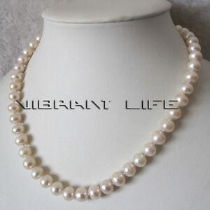 18 Inches 8-10mm White Roundel Freshwater Pearl Strand Necklace UE
