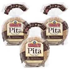 3 Packs (12oz Pk) Toufayan  whole wheat Hearth Baked Pita Bread KOSHER VEGAN