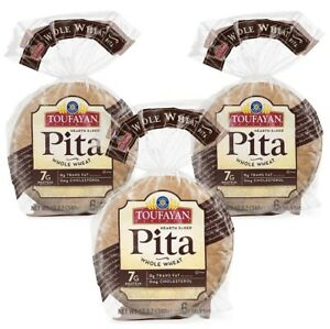 3 Packs (12oz Pk) Toufayan  whole wheat Hearth Baked Pita Bread KOSHER VEGAN