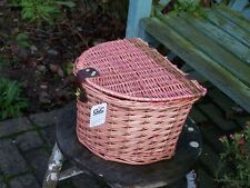 WICKER BICYCLE PINK BASKET WITH LID FASTNER HANDLE BAR MOUNT BUY 2 GET 2ND 50%