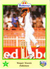 BUTTERCUP 1995 WAQAR YOUNIS Ball PAKISTAN, ACB Australian Cricket Card