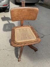 Antique  Office by Murphy Solid Oak Rolling Swivel Recline Desk Arm Chair