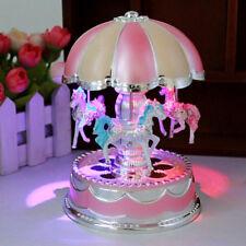 Kids Child Girl LED Horse Carousel Music Box Toy Clockwork Musical Birthday Gift