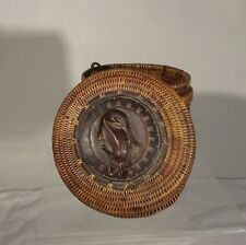 Antique Vintage Lombac Indonesia South East Asian Basket Gecko Lizard Lid