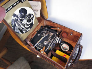 """Bolex H16 """"Deluxe"""" non-reflex 16mm Movie Camera w/ 25mm f1.4 Switar Lens, Case"""