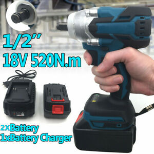 """18V 1/2"""" 520Nm Torque Brushless Cordless Electric Impact Wrench Driver&2 Battery"""
