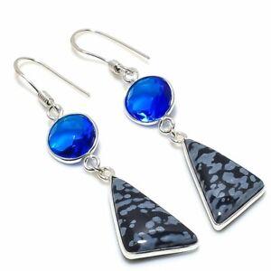 """Snowflake Obsidian, Blue Topaz 925 Sterling Silver Jewelry Earring 2.36 """""""