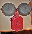 Vintage Crouse-Hinds Electric Company Cast Iron Double Red Fire Alarm Black Bell