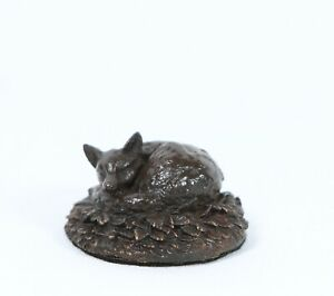 Solid Bronze  Fox  Curled Up Gift Boxed