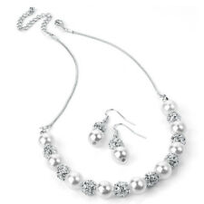 Silver & White Pearl Colour Crystal Necklace & Earring Set