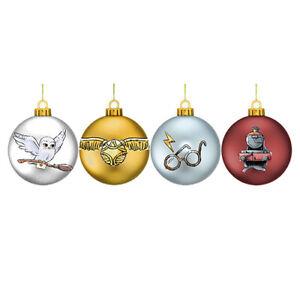 HARRY POTTER CHRISTMAS DESIGN SET OF 4 GLITTER BAUBLES