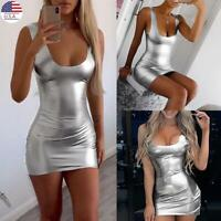 Sexy Women Bodycon Tight Mini Pencil Short Dress Wet Look Party Night Club Wear