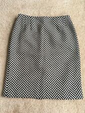 TALBOTS Black White 100% Wool Zigzag Pencil Skirt  Sz 12