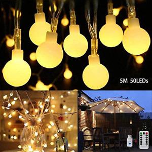 CMCQ Globe String Lights,50 LED Globe Fairy Lights USB Plug in Bedroom Fairy, 8