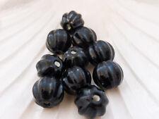 5 X Negro De Porcelana De Cerámica Calabaza granos 13mm X 12mm, Goth cuentas Halloween