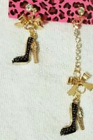 BETSEY JOHNSON HIGH-HEEL SHOES DANGLE GOLD RIBBON GIRLS PARTY STUD EARRINGS