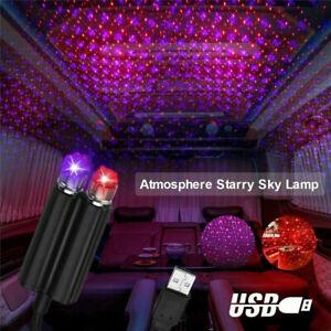 Car USB LED Interior Roof Atmosphere Star Night Light Lamp Projector Light Decor