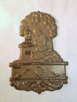 Antique Late Victorian Funeral Child's Coffin Plaque Woman Under Tree