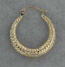 14k Yellow Gold Dazzling Tapered Hoop Earring. Hollow. Great Birthday Gift