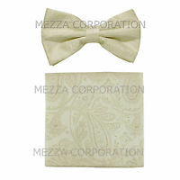 New Brand Q men/'s single pleat pre-tied bowtie solid bridal formal prom Yellow