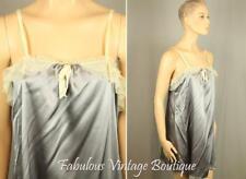 VERA WANG Gray Liquid Satin Sleeveless Shift Slip Dress w Lace Net Design M
